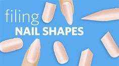 Filing 8 Nail Shapes (combined)  Here's our guide of filing nail shapes, combined. View each nail shape video separately with our playlist: https://www.youtube.com/playlist?list=PLW7xhdMzxfTbMMrwkC3i-0JINOB-qZvyP  Nail Shapes, in this order:  0:03 - Stiletto Nail  1:38 - Lipstick Nail  3:07 - Coffin Nail  4:27 - Almond Nail  5:29 - Square Nail  7:02 - Squoval Nail  7:37 - Oval Nail  8:37 - Round Nail