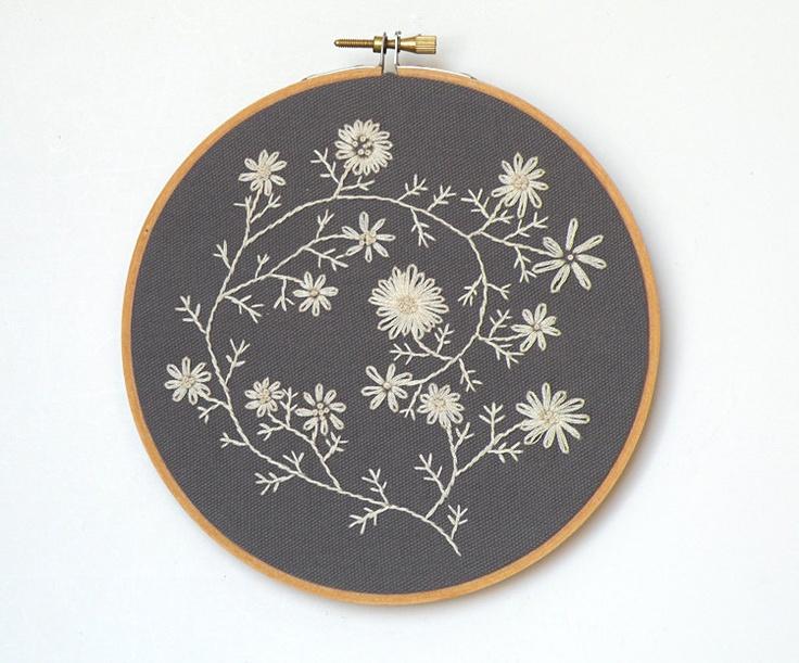 Ecru cream embroidered flowers