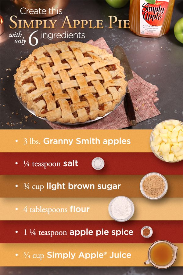 Fill up on the flavors of fall by treating yourself to this Simply Apple Pie recipe using Simply Apple Juice. Forget the crust — it's what's on the inside that counts.