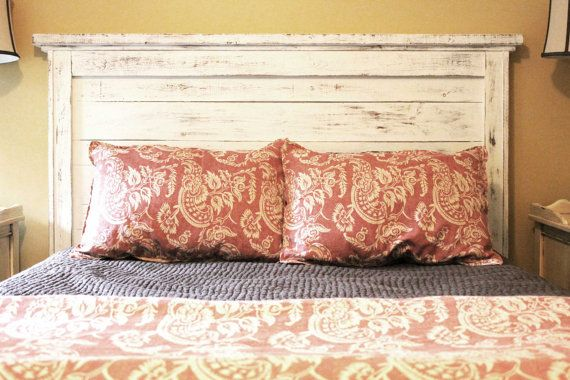 headboardHandmade Headboards, Distressed Wood, Distressed Headboards, King Distressed, White Headboards, Wood Headboards Ideas, Head Boards, Pallet Headboards, Pallets Headboards