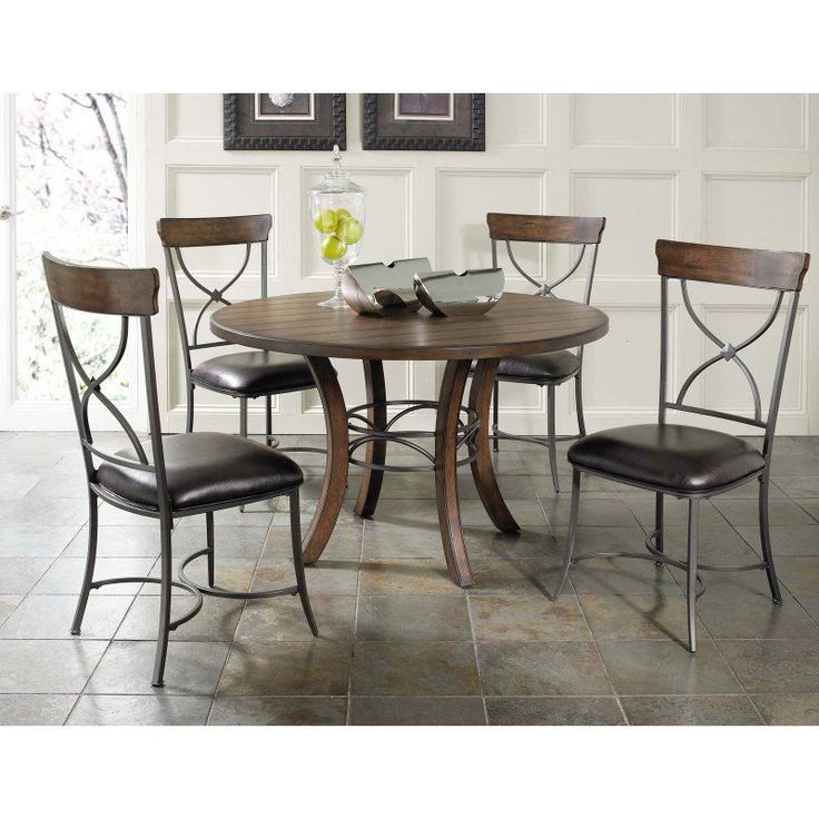 Hillsdale Cameron 5 Piece Round Wood Dining Table Set with X-Back Chairs - HL3206