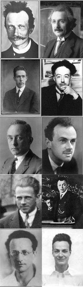 Introduction to quantum mechanics From above and from left to right: Max Planck, Albert Einstein, Niels Bohr, Louis de Broglie, Max Born, Paul Dirac, Werner Heisenberg, Wolfgang Pauli, Erwin Schrödinger, Richard Feynman.