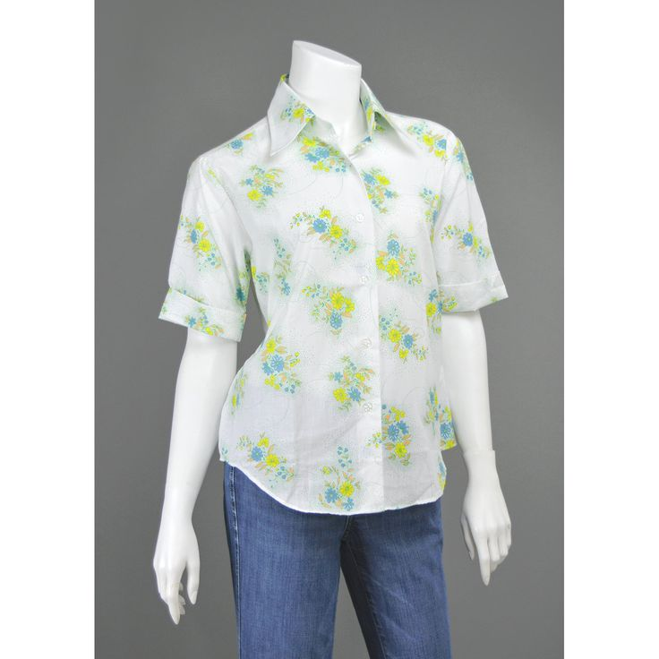 Vintage 70s Shirt Floral Blouse White Cotton Shirt Collared Short Cuff Sleeve Button Up Oxford Shirt Yellow Green Blue Polka Dot 1970s Shirt  #vintage #clothing #clothes #blouses #shirts #floralprint #polkadot #summer #womens #fashion #style #casual