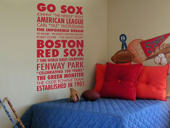 Go Sox Boston Red Sox Baseball Sports Subway by GSGVinylDesigns   34 00. 44 best red sox room images on Pinterest