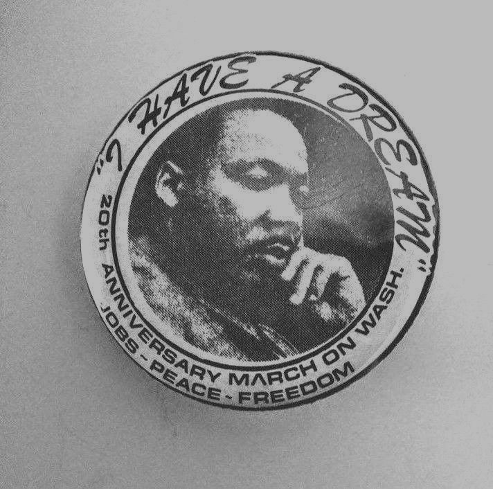 1983 20th Anniversary of March on Washington - M.L.K. JOBS PEACE FREEDOM button