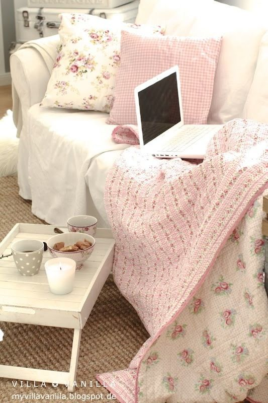 Shabby chic, cozy living room sofa---perfect with tea....laptop or book....kitties dozing beside you!