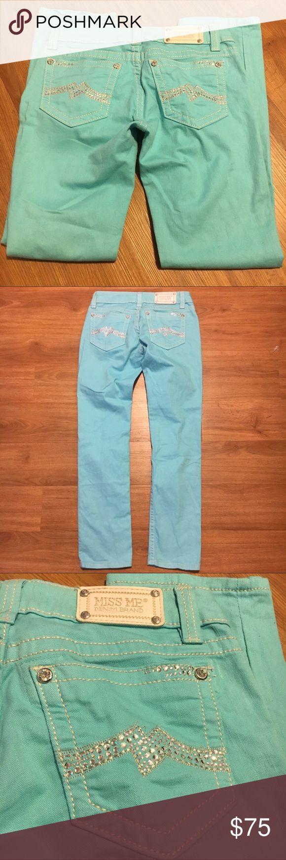 MISS ME CUFFED SKINNY AQUA JEANS EUC miss me skinny cuffed aqua colored jeans. No missing rhinestones. Miss Me Jeans Skinny