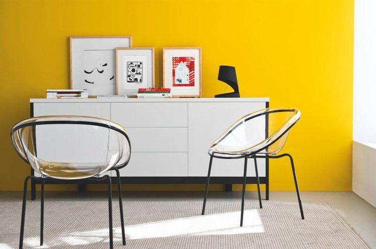 we love pop rooms!!!!  buffer passowrd chair bloom mustrad yellow walls