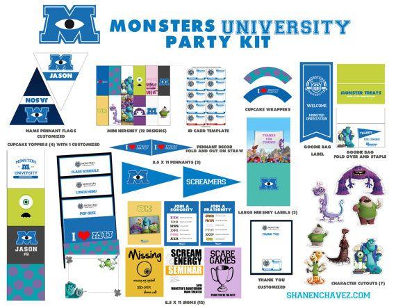 Monsters University Party Kit Boy/Girl  // DIY by schavez on Etsy, $35.00