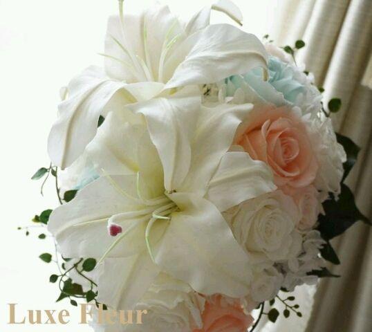 大人気♪カサブランカのティアドロップブーケ♪  Luxe Fleur Diary~プリザーブドフラワーとアーティフィシャルフラワー(造花)のブライダルブーケのショップ