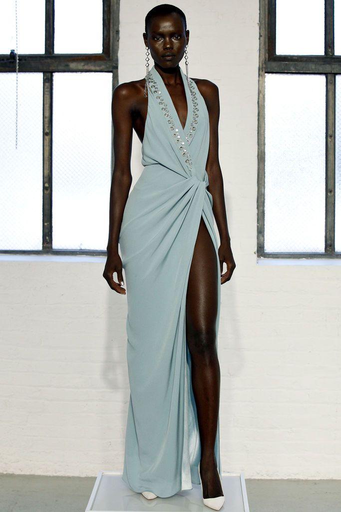blue grey gown silver metal detail thigh high slit - catherine malandrino - spring 2013 rtw #nyfw