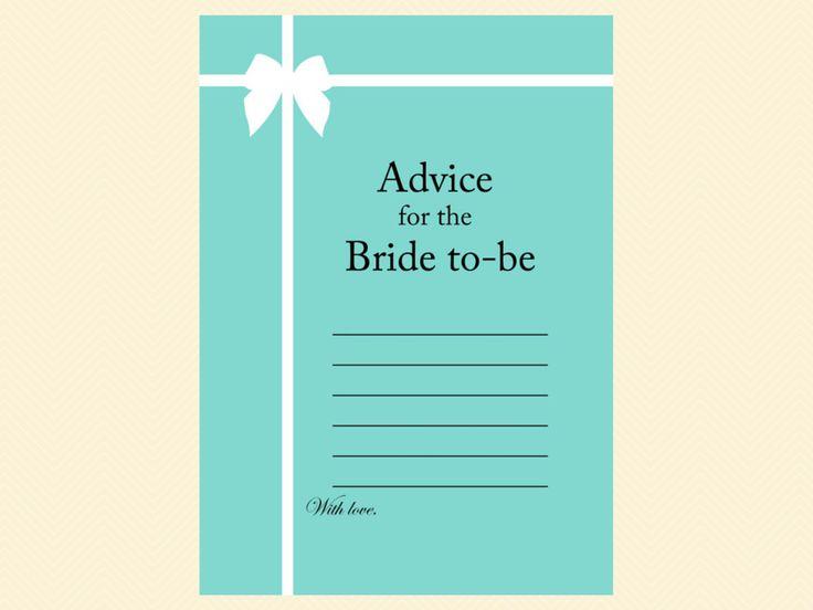 advice for bride card, tiffany blue, tiffany bridal shower games, breakfast at tiffanys bridal shower, tiffany blue bridal shower game pack, printable