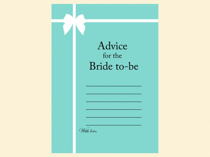 advice for bride card, tiffany blue, tiffany bridal shower games, breakfast at tiffanys bridal shower, tiffany blue bridal shower game pack, printable
