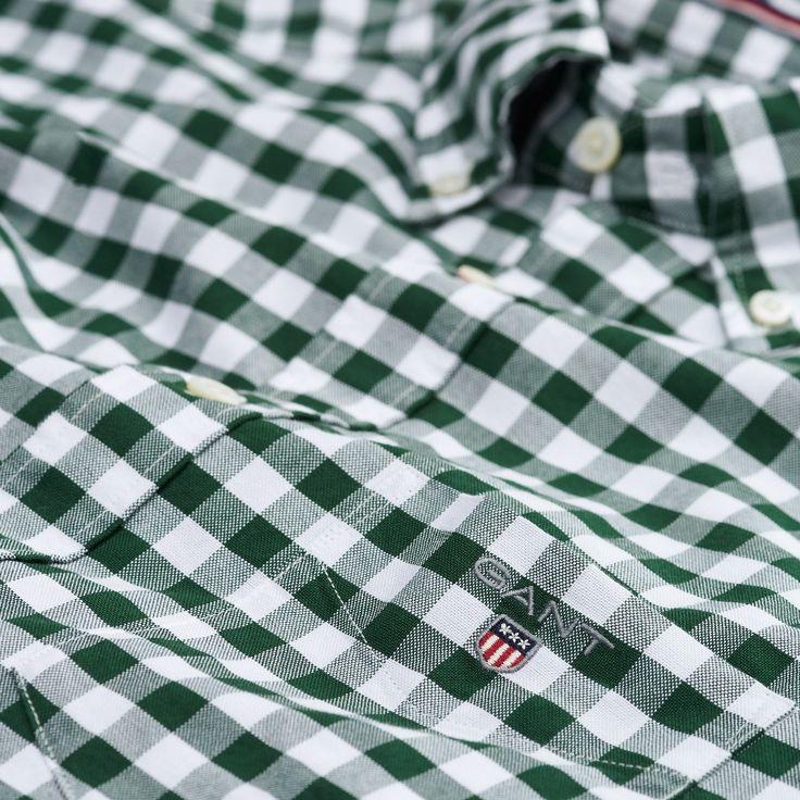 GANT: Green Oxford Gingham Checked Shirt Men's | GANT USA Store