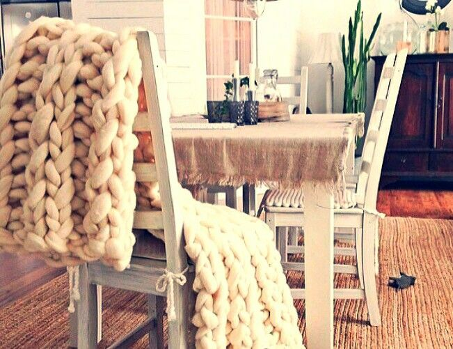 Beautiful super chunky knit blankets are perfect for a cozy home. Check out more at I AM...gigantic knits #blanket #home #decor #cozy #handmade #knitting