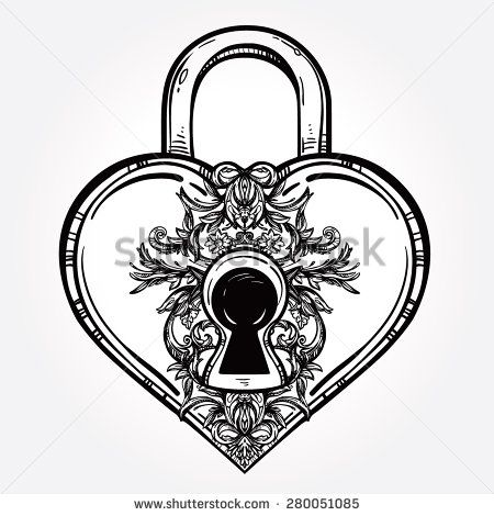 The key to the heart. Isolated Vector illustration. Heart shaped padlock in vintage engraved style with elegant key. Line art tattoo template. Romantic scrapbook sample.