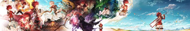 Konachan.com - 242471 all_male boots cape clouds dualscreen elsword gloves landscape male paper rain red_eyes red_hair scenic scorpion5050 short_hair shorts sky water.jpg (4223×700)