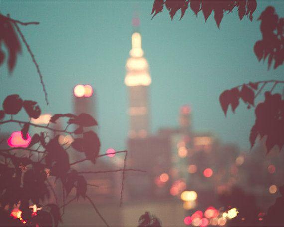 New York City Photograph, NYC, Manhattan skyline, Mad Men, cityscape, city lights, urban decor, blue gray, teal, modern decor, fPOE on Etsy, $30.00