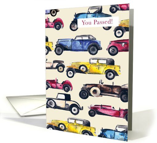 General Passing Driving Test card: Classic Cars Passes Driving test Card by With Hugs and Kisses