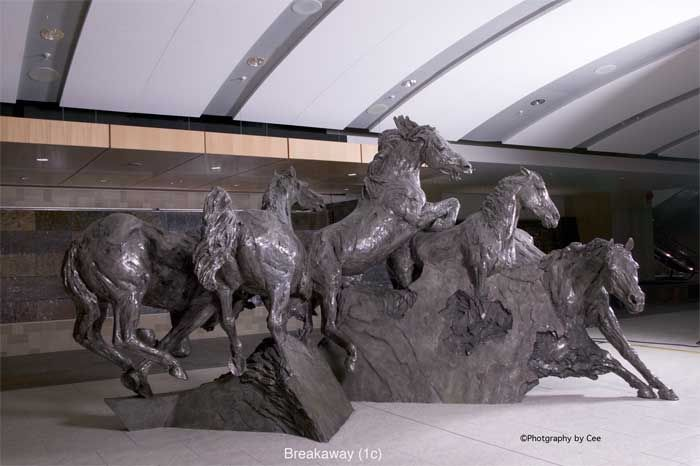 """Breakaway"" by Robert Spaith.  Located in the Calgary International Airport, the sculpture is said ""... To create a sculpture about Calgary , its physical character, its spirit, essence and style using the horse as metaphor.  As a symbol the horse is universally synonymous with energy.... """