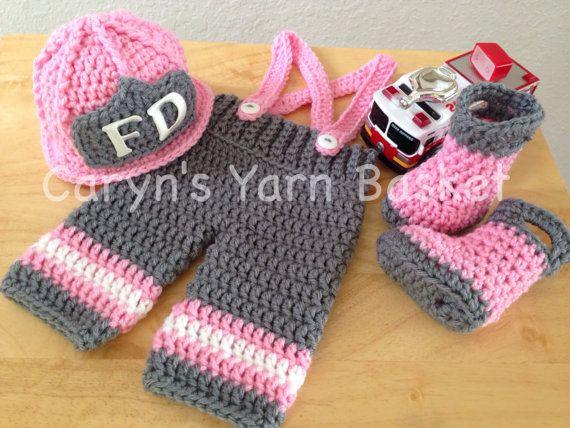 Baby Girl Firefighter Fireman Crochet Hat by CarynsYarnBasket