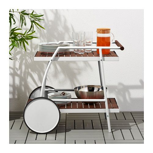 VINDALSÖ Trolley, outdoor, white, eucalyptus brown stained