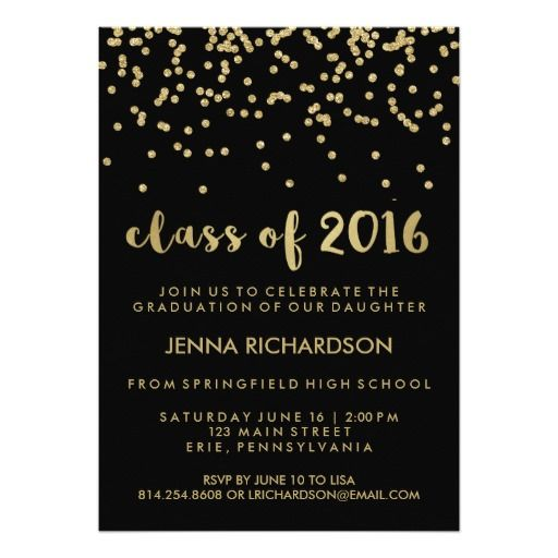 Gold Confetti Class of 2016 Graduation Party Black Card
