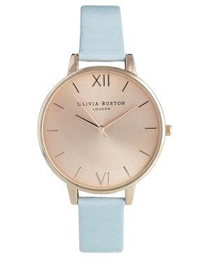 Olivia Burton – Blaue Armbanduhr mit großem Zifferblatt