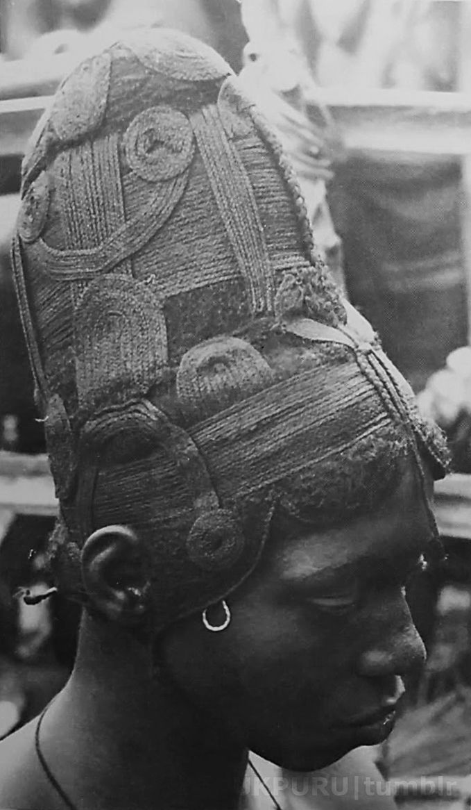 "Africa | Nigeria | "" Young married woman from Achalla Awka wearing a wig, north-central Igbo area 