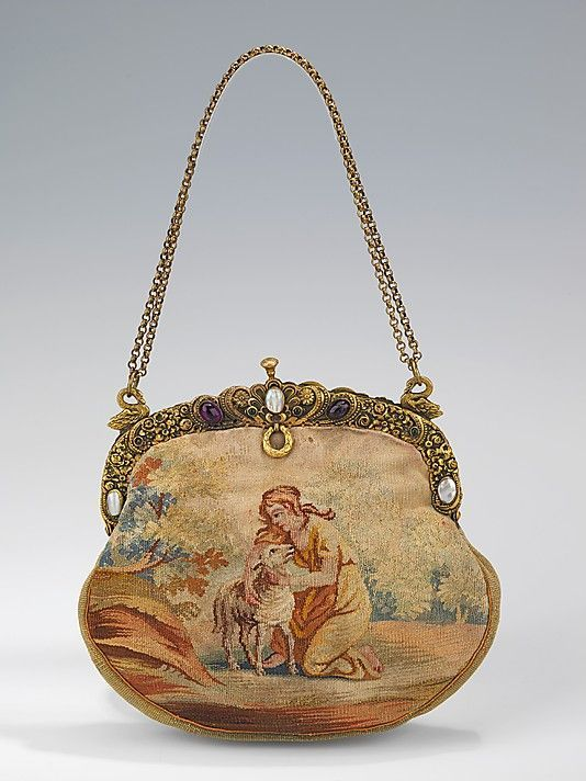 This is such a gorgeous wool, metal, glass & shell evening purse from Austria, 1920-29