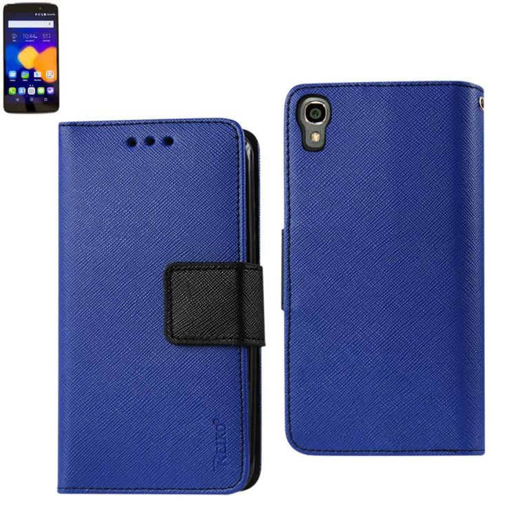 Reiko Wallet Case 3 In 1 For Alcatel Onetouch Idol 3 5.5Inches With Interior Leather-Like Material & Polymer Cover-Navy