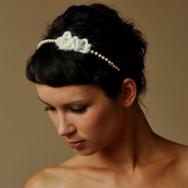 BRIDAL HAIR BAND wedding with crochet flowers and pearls oryginal and ...