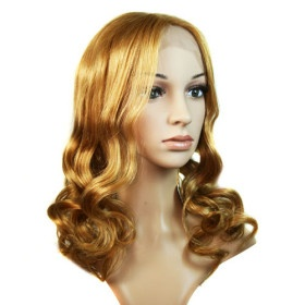 Full Lace Long 100% Human Hair Blonde Curly Hair Wig