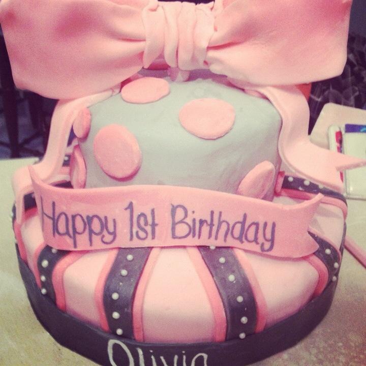 Bow + Polkadots Birthday Cake   Sugared Moments