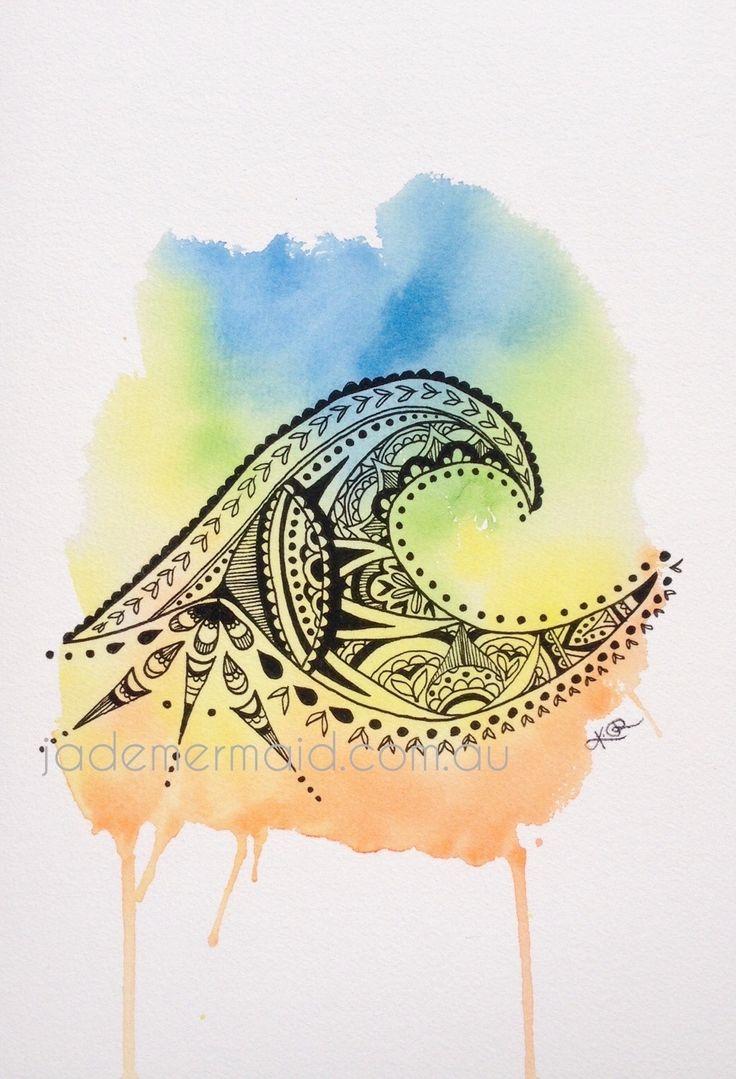 "A4 print of original ""Tsunami"" artwork by Kayleigh Rowbottam. High quality print on Hahnemuhle 100% rag textured watercolour paper"
