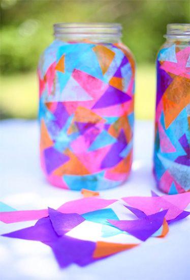 Lámparas con velas y muchos colores - Manualidades para niños - Charhadas.com