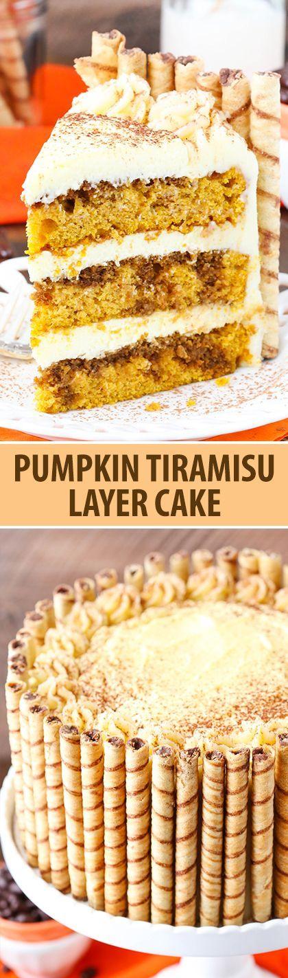 Pumpkin Tiramisu Layer Cake - pumpkin cake, kahlua and espresso, tiramisu filling and mascarpone frosting #PumpkinCakeRecipe