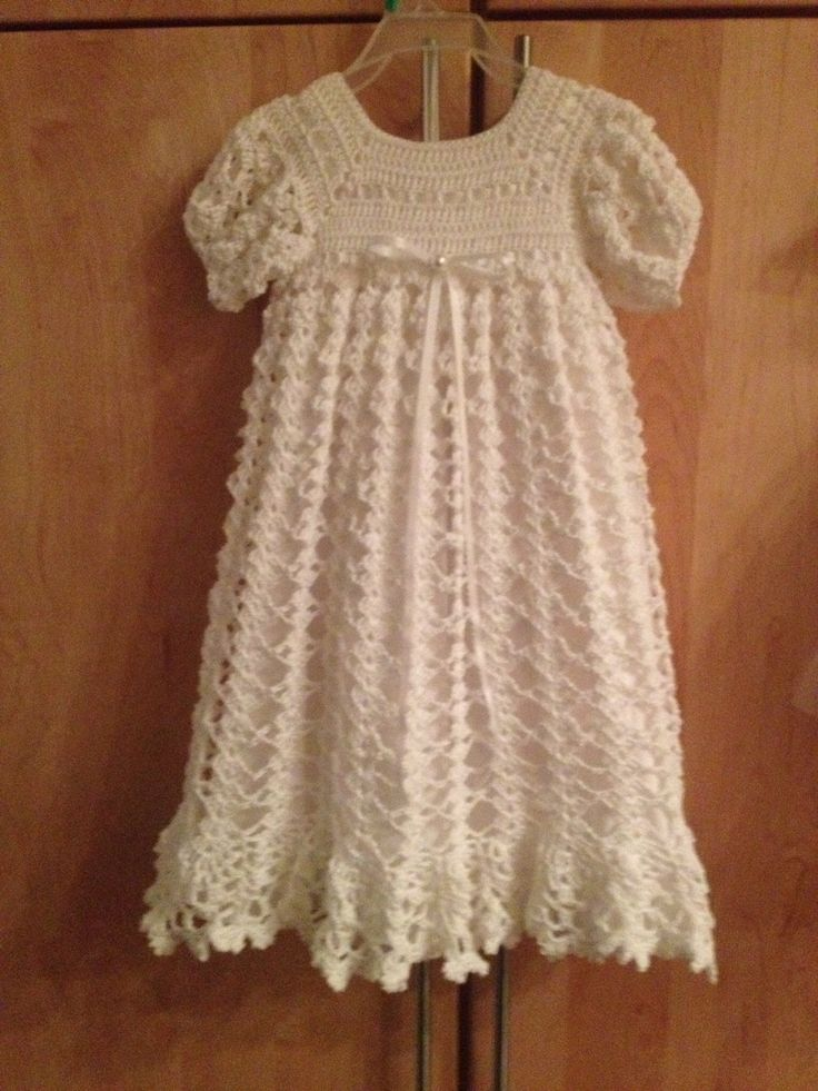 Crocheted Christening Gown With Slip Underneath Crochet