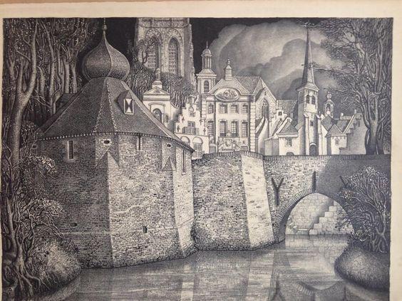 Litho van Jan Strube mooie verzameling oude gebouwen uit Breda