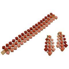 Van Cleef & Arpels - Diamond and Multi Color Coral Suite Bracelet (Demi-Parure)