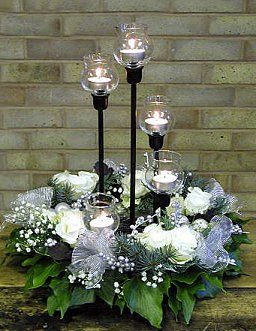 Silver-White Wreath Centerpiece
