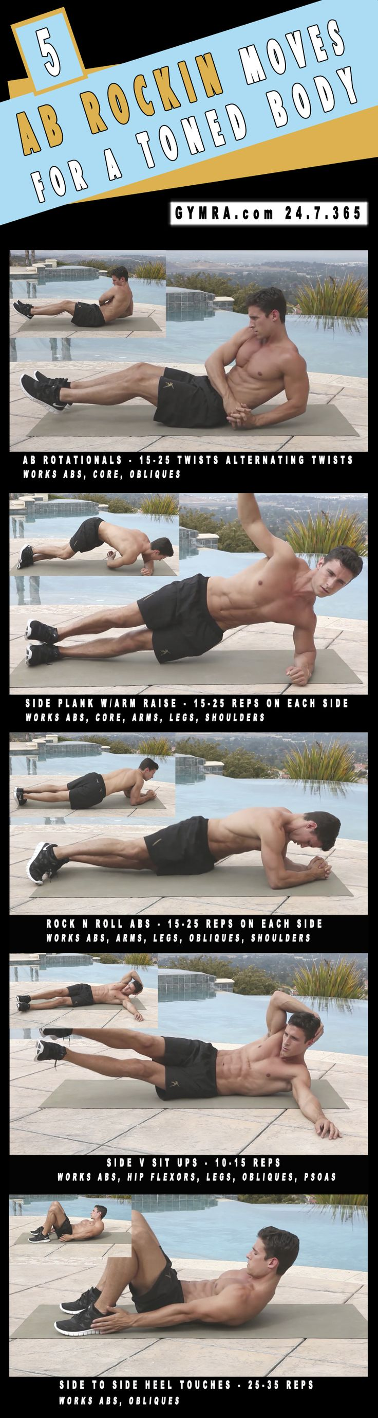 Abs Workout. Do each move for a minute with 15-45 seconds rest in between sets twice. Total Body Workout. Warm up for 2 minutes, do the circuit 2-3 times. Transform yourself & Your life, get fit & healthy.