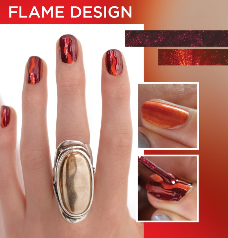 Create this simple flame design to get ready for the long weekend. All it takes is two lacquer shades from the Fired Up color collection and 2 easy steps. Give it a try!  1. Start with 1 coat of Bonder rubberized basecoat and apply 2 coats of Flicker. Visit our Facebook page for step by step instructions.