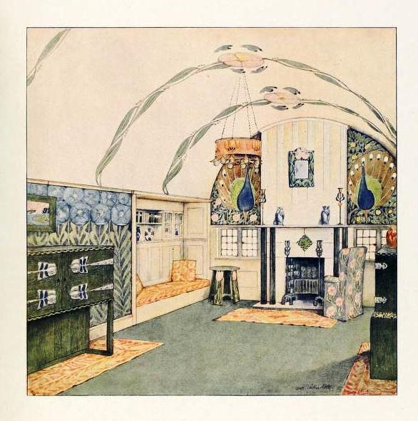 English Arts Crafts Living Room Coloured Design Drawing Circa 1912