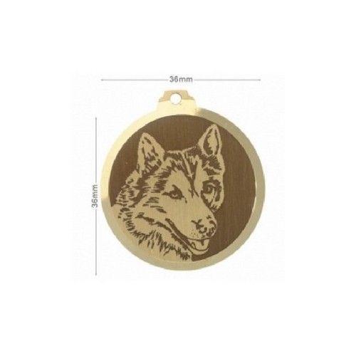 Médaille en laiton gravée race chien HUSKY