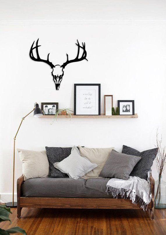 Metal Wall Art Deer Skull Head Animal Steel Home Decor Scandi Etsy In 2021 Small Living Room Furniture Small Living Room Decor Home Decor