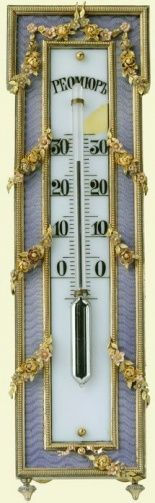 A thermometer bought by Tsar Nicholas II, 1898     Fabergé's practical objects included highly decorative thermometers; he even produced clinical thermometers. Examples fitted with strut supports are known, including one also enamelled in mauve and made by Viktor Aarne.