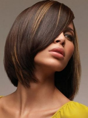 dark brown hair with honey highlights