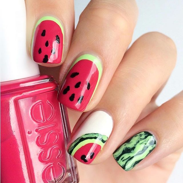 This bright and juicy mani is one in a 'melon' -- essie 'watermelon' mani is the perfect summer nail polish color!