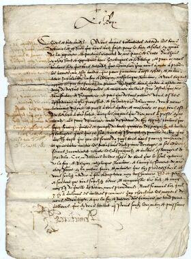 Lettre de félicitation du roi d'Espagne Philippe II au  magistrat de la ville de Saint-Omer  (3 octobre 1566) . BASO - Layettes BB CXL n°1